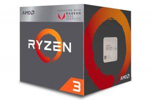 Ryzen 3 2200G tem quatro núcleos e GPU Radeon Vega de 8 unidades computacionais — Foto: Divulgação/AMD